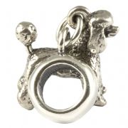 Minature Poodle Dog Sterling Silver 3D Dangle Charm / Carrier Bead